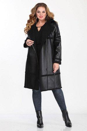 """Пальто Пальто Matini 2.1442  Рост: 164 см.  Пальто женское из полотна """"дубленка"""" прямого силуэта с капюшоном. Рукав втачной. Застежка ассимметричная на молнию. Швы притачивания кокеток, час"""