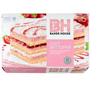 торт торт Baker House Виттория 350 г  Клубничный торт из нежного двухцветного бисквита со сливочным кремом, клубничным джемом и посыпкой из кокосовой стружки. Рекомендуется употреблять охлажденным.