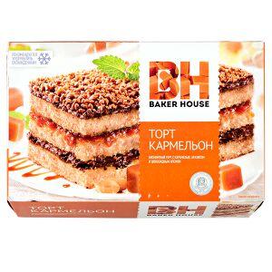 торт торт Baker House Кармельон 350 г  Бисквитный торт с карамелью, арахисом и шоколадным кремом. Рецепт этого лакомства появился в Германии в 1934 году и быстро снискал мировую известность. Рекоменду