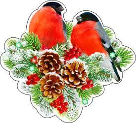 """Новогоднее украшение на скотче """"Снегири"""""""