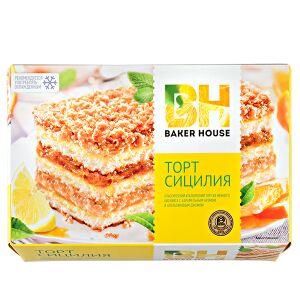 Торт Торт Baker House Сицилия 350 г  Классический итальянский торт с джемом из сочного апельсина, нежным кремом и посыпкой из меренги со вкусом миндаля. Торт получил свое название благодаря знаменитым