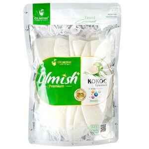Кокос Кокос Сушеный OLMISH Premium 500 г  Без сахара, без добавок, без красителей, натуральные плоды. Сушёный кокос обладает мягким и нежным вкусом, такое лакомство отлично справляется с повышением то