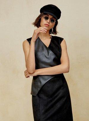 Платье Состав: А: 90% Терилен, 10% Спандекс, В: 100% Эко кожа, цвет: черный,
