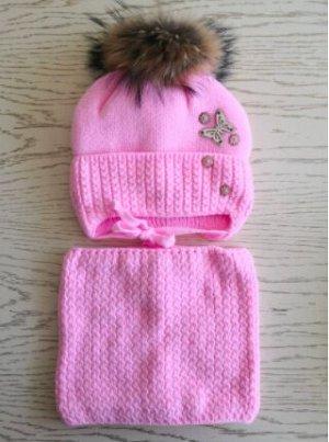Шапка + снуд, цвет розовый