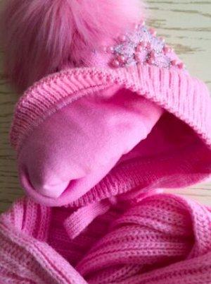 Шапка + снуд-петля, цвет розовый