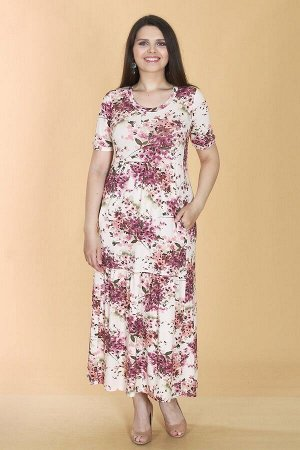 Платье свободного силуэта Марьяна с коротким рукавом 10415