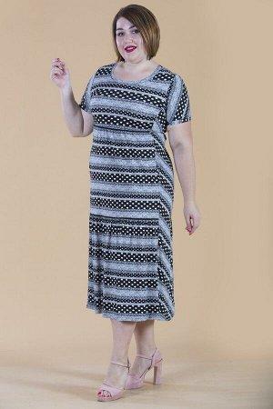 Платье свободного силуэта Марьяна с коротким рукавом 10322