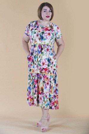 Платье свободного силуэта Марьяна с коротким рукавом 10320