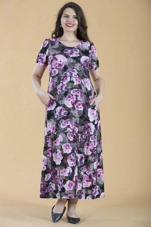 Платье свободного силуэта Марьяна с коротким рукавом 10256