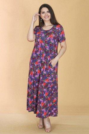 Платье свободного силуэта Марьяна с коротким рукавом 10409