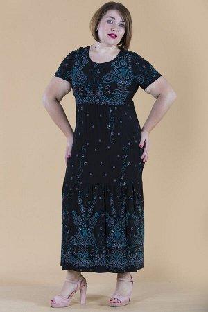 Платье свободного силуэта Марьяна с коротким рукавом 10316