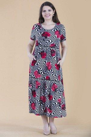Платье свободного силуэта Марьяна с коротким рукавом 10313