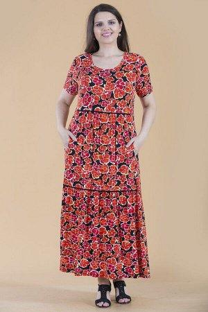 Платье свободного силуэта Марьяна с коротким рукавом 10310