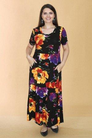 Платье свободного силуэта Марьяна с коротким рукавом 10406