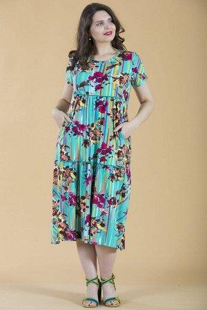 Платье свободного силуэта Марьяна с коротким рукавом 10240