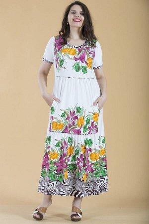 Платье свободного силуэта Марьяна с коротким рукавом 10220