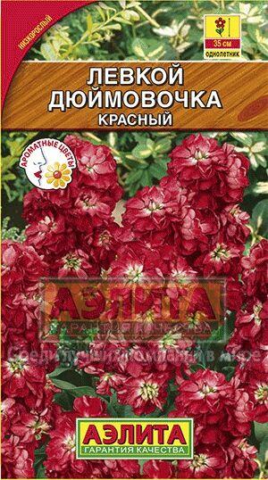 Цветы Левкой Дюймовочка карликовый, красный/Аэлита/цп