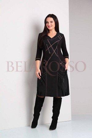 Платье Axxa 54894 черное / отделка красным