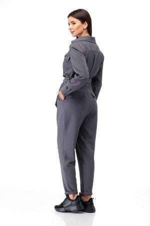 Комбинезон Комбинезон ANELLI 887 графит  Состав: Вискоза-68%; ПЭ-28%; Эластан-4%; Сезон: Осень-Зима Рост: 164  Комбинезон из костюмной ткани создает стильный образ как для каждого дня так и для выход
