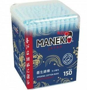 """Палочки ватные гигиен. """"MANEKI"""" (серия Ocean) с голубым бум. стиком, в пласт. коробке, 150 шт./уп."""