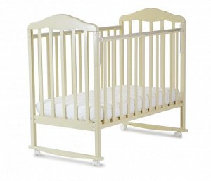 Кроватка детская Березка  (автостенка, колеса, качалка, накладка ПВХ, бежевый) 120119