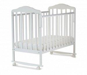 Кровать детская Березка  (автостенка, колеса, качалка, накладка ПВХ, белый) 120111