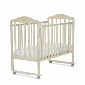 Кровать детская Березка  (автостенка, колеса, качалка, накладка ПВХ, береза снежная) 120115-5
