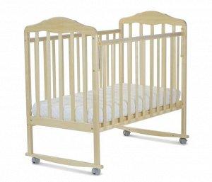 Кровать детская Березка  (автостенка, колеса, качалка, накладка ПВХ, береза) 120115