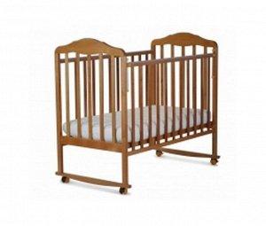 Кровать детская Березка  (автостенка, колеса, качалка, накладка ПВХ, бук) 120116
