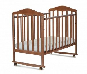 Кровать детская Березка  (автостенка, колеса, качалка, накладка ПВХ, орех) 120117