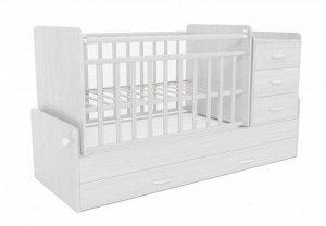 Кровать детская СКВ-5 (опуск.бок.,маятник,5 ящиков,белый) 544031