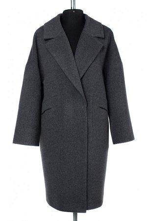 01-10131 Пальто женское демисезонное Микроворса темно-серый