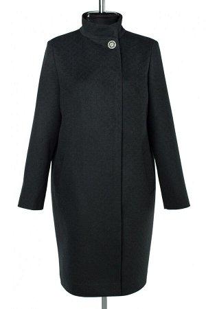 01-10054 Пальто женское демисезонное Микроворса темно-зеленый