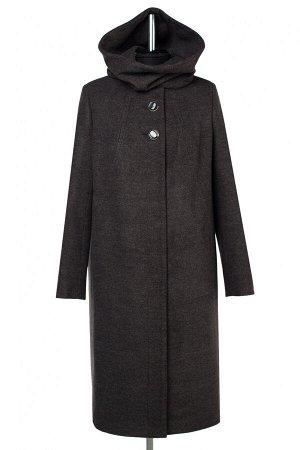 02-2956 Пальто женское утепленное валяная шерсть серо-черный