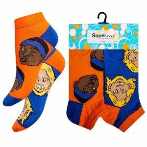"""Носки мужские хлопковые укороченные """" Super socks A162-3 """" 2 пары оранжевые/синие р:40-45"""