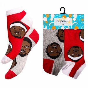 """Носки мужские хлопковые укороченные """" Super socks A162-3 """" 2 пары серые/красные р:40-45"""