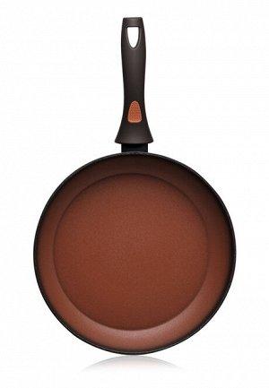 Сковорода с антипригарным покрытием, цвет терракотовый, 28 см