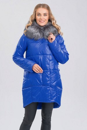 Ярко-синий Удобное, практичное пальто силуэта овал поможет вам долгой морозной зимой чувствовать себя комфортно! Центральная застежка на молнии с цельной планкой и потайные кнопки. На капюшоне искусст
