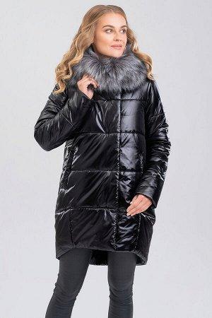 Черный Удобное, практичное пальто силуэта овал поможет вам долгой морозной зимой чувствовать себя комфортно! Центральная застежка на молнии с цельной планкой и потайные кнопки. На капюшоне искусственн