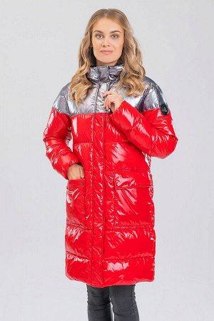 Красный Пальто зимнее, синтепух(синтетический пух). Удобное пальто прямого силуэта привлекает к себе внимание сочетанием лакированной ткани и ткани с серебристым напылением, что придает необыкновенно
