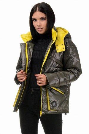 Куртка демисезонная «Бланш», 42-48, арт.297 хаки-желтый
