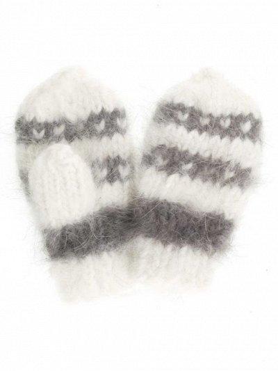 с *Вяжем* мир теплее  — Варежки детские из пуха ангорского кролика — Вязаные перчатки и варежки
