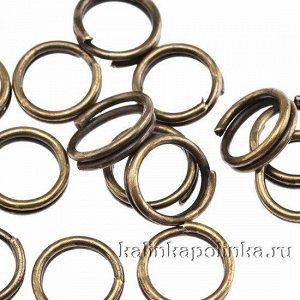 Колечки соединительные двойные железные, с гальваническим покрытием цвета бронза, р-р. 6х0.5мм.