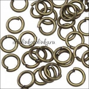 Колечки соединительные железные, гальваническое покрытие цвета бронза, р-р 6х1мм