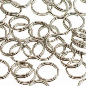 Колечки соединительные двойные железные, с гальваническим покрытием цвета платина, р-р. 6х0.7мм.