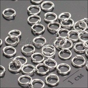 Колечки соединительные железные, гальваническое покрытие цвета серебро, р-р 6х1мм.