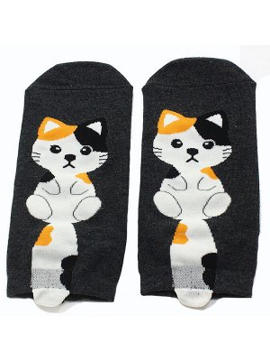 """Короткие носки р.35-40 """"Котята с хвостом"""" Чёрные"""