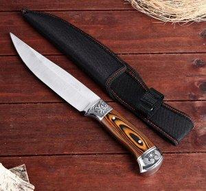 Нож охотничий в чехле, лезвие 18 см, рукоять деревянная, вставки с узором, хром