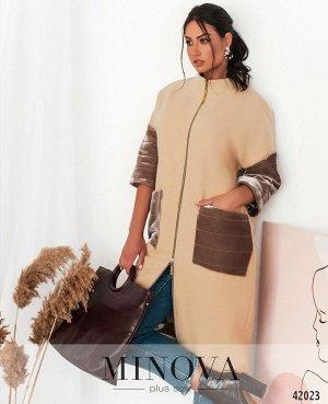 Пальто №14702-1-бежевый