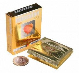 Презервативы Masculan тип 5 (ЗОЛОТОГО ЦВЕТА) с ароматом ванили 3 шт.